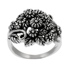 Sterling Silver Flower and Leaves Cluster Ring