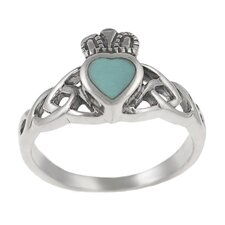 Sterling Silver Claddagh Ring with Turquoise