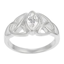 Sterling Silver Celtic Triquetra with CZ Ring