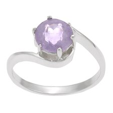 Sterling Silver Round-cut Amethyst Solitaire Ring