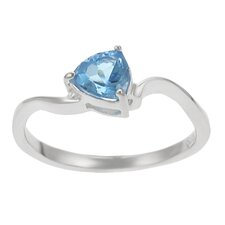Sterling Silver Trillion-cut Blue Topaz Solitaire Ring