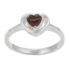 Sterling Silver Heart with Garnet Center Ring
