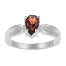 Sterling Silver Pear-cut Garnet Solitaire Ring