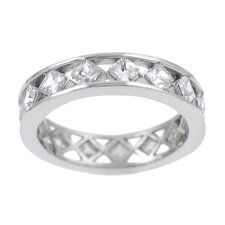 Sterling Silver Diamond Cut CZ Eternity Band Ring