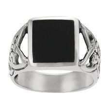Sterling Silver Celtic Black Onyx Ring