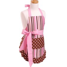 Girl's Apron in Pink/Chocolate