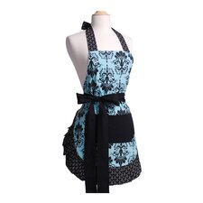 <strong>Flirty Aprons</strong> Women's Original Apron in Aqua Damask