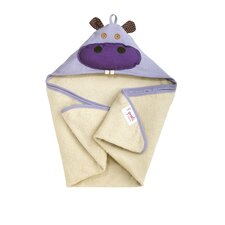 <strong>3 Sprouts</strong> Purple Hippo Hooded Towel