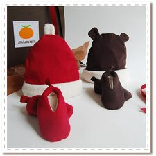 Organic Holiday Hat & Bootie Set for Baby (0-6 mo.)