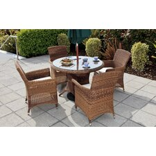 Panama 4 Seater Dining Set in Java Honey