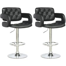 Tufted Adjustable Bar Stool with Armrest (Set of 2)