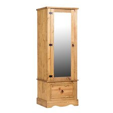 Corona 1 Door Wardrobe Armoire with Mirrored Door