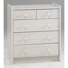 Kids Five Drawer Chest in White