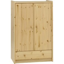 Kids Two Doors and One Drawer Low Wardrobe in Natural Lacquer