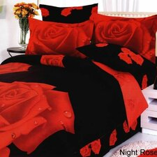 Night Rose 4 Piece Duvet Cover Set