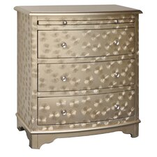 Star Field Champagne 3 Drawer and 1 Pull Shelf Accent Chest
