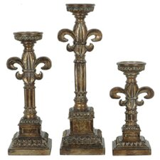 Traditions 3 Piece Resin Florence Candlestick Set