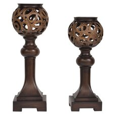 Traditions 2 Piece Resin Cheyenne Candle Holder Set