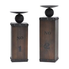 Wine Country 2 Piece Crate Candlestick Set