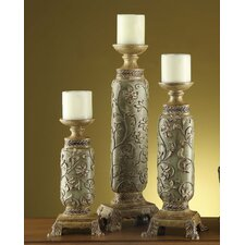 Traditions 3 Piece Resin Stone Carlyle Candlestick Set