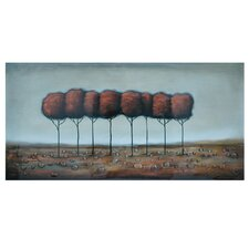 "Lone Red Trees Stretched Canvas High Gloss Oil Painting - 30"" x 60"""