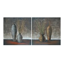 Potted Plants Stretched Canvas Hand Painted Dimensional High Gloss 2 Piece Painting Print on Canvas Set (Set of 2)