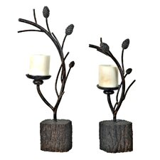 Metal Candlesticks (Set of 2)