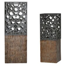 De Luca Resin Candlesticks (Set of 2)