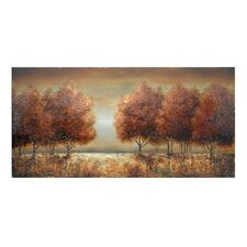 """Soft Sunset Against Fall Trees"" Painting Print on Canvas"