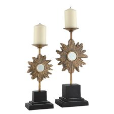Golden Starlight Resin Candlesticks (Set of 2)