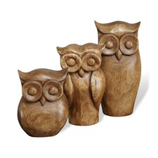 3 Piece Owl Figurine Set