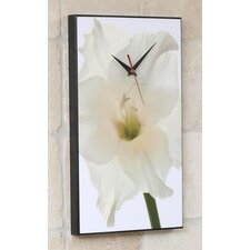White Gladiolus Flower Wall Clock