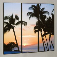 "Three Piece Ka'anapali Sunset Laminated Framed Wall Art Set - 36"" x 50"""