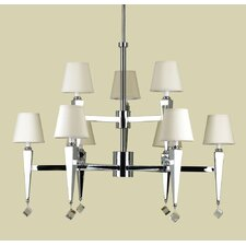 Margo 9 Light Chandelier with Poly Silk Shade