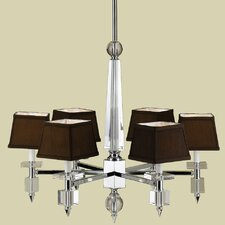 <strong>AF Lighting</strong> Cluny 6 Light Chandelier with Poly Silk Shade