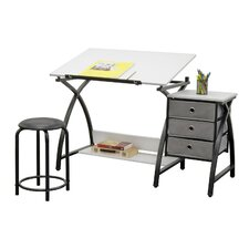 Comet Center 3 Piece Writing Desk & Stool Set