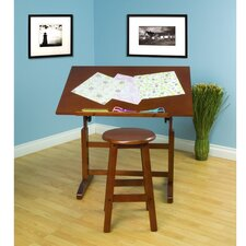 "Creative Hardwood 36""W x 24""D Drafting Table and Stool Set"