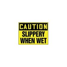 "X 14"" Black And Yellow Plastic Value™ Fall Protection Sign Caution Slippery When Wet"