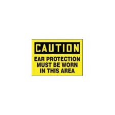 "X 14"" Black And Yellow Plastic Value™ Hearing Protection Sign Caution Ear Protection Must Be Worn In This Area"