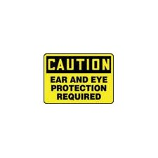 "X 10"" Black And Yellow Plastic Value™ Personal Protection Sign Caution Ear And Eye Protection Required"