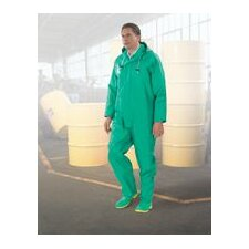 2X Green Chemtex .35MM PVC On Nylon Polyester Coverall With Attached Hood And Inner Cuffs