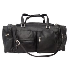 "Traveler 24"" Leather Travel Duffel with Pockets"