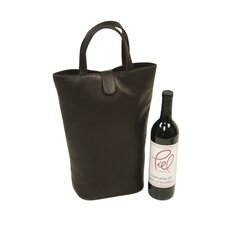 <strong>Piel Leather</strong> Fashion Avenue Double Wine Tote in Chocolate