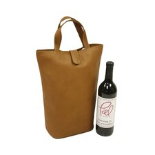 <strong>Piel Leather</strong> Fashion Avenue Double Wine Tote in Saddle