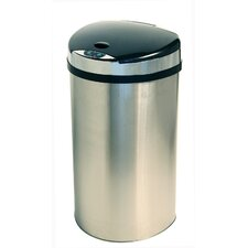 13 Gallon Semi-Round Extra-Wide Opening Touchless Trash Can in Brushed Stainless Steel Silver