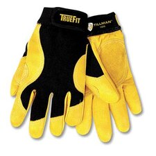 TrueFit™ Top Grain Cowhide With Rough Side Out Double Palm And Thumb, Black Spandex Back Performance Gloves With Hook & Loop Closure
