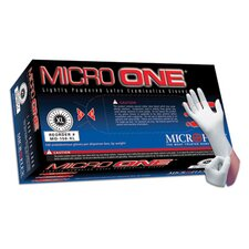 "White 9.4"" Micro One® 5 40180 mil Premium quality natural rubber Latex Ambidextrous Non-Sterile Lightly Powdered Disposable Gloves With Smooth Finish And Beaded Cuffs (100 Each Per Box)"