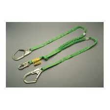 6' Green Web Lanyard With Locking Snap Hook And 2 Locking Rebar Hooks