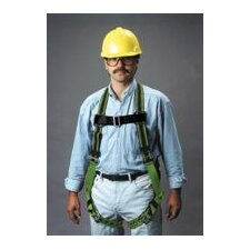 Green DuraFlex Full Body Harness With Friction Shoulder Strap Buckles And Tongue Buckle Leg Straps