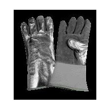 "Ounce Leather Wool Lined Heat Resistant Gloves With 13"" Cuff, Leather Palm, Aluminized Leather Forefinger And Thumb And Leather Crotch Strap"